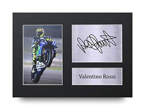 HWC Trading Valentino Rossi A4 Senza Cornice Firmato Regalo Visualizzazione delle Foto Print Immagine Autografo Stampato per Superbikes I Fan della MotoGP