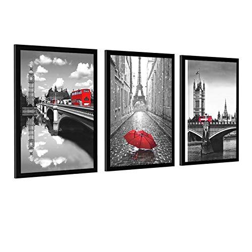 Art Paris Decor para dormitorio gris y rojo paraguas lienzo arte de la pared Torre Eiffel cuadros pintura para decoración del hogar Marco-estilo1 8 × 12 pulgadas (20 × 30 cm)