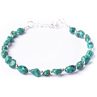 81stgeneration Women's .925 Sterling Silver Green Turquoise Bead Bracelet, 17.5 + 2cm Extender:Animewalk