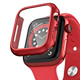 pzoz Compatible for Apple Watch Series 6/5 /4 /SE 44mm Case with Screen Protector Accessories Slim Guard Thin Bumper Full Coverage Matte Hard Cover Defense Edge for Women Men GPS iWatch (Red)