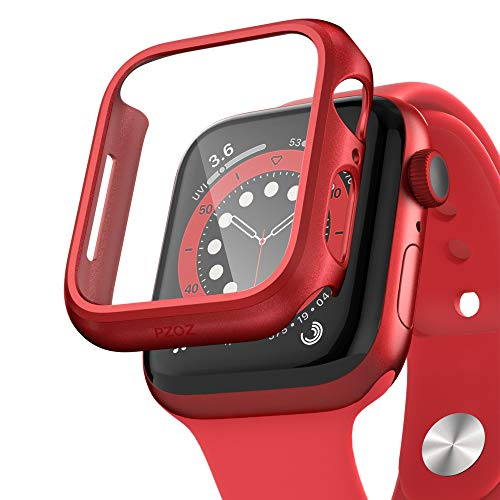 pzoz Compatible Apple Watch Series 6/5 /4 /SE 44mm Case with Screen Protector Accessories Slim Guard Thin Bumper Full Coverage Matte Hard Cover Defense Edge for Women Men New Gen GPS iWatch (Red)