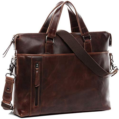 BACCINI Real Leather Laptop Bag Leandro Large Work School Shoulder Bag 15 inch Laptop Portable Computer Satchel Briefcase Men´s Bag Brown