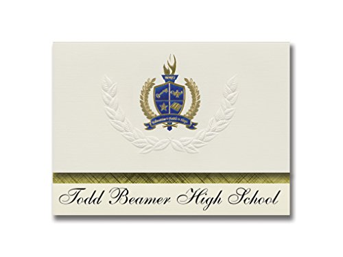 Signature Announcements Todd Beamer High School (Federal Way, WA) Abschluss-Ankündigungen, 25 Stück, Gold & Blau Metallic Folie, 15,9 x 29 cm, Creme (PAC_BASICPres_HS25_153059_206044)