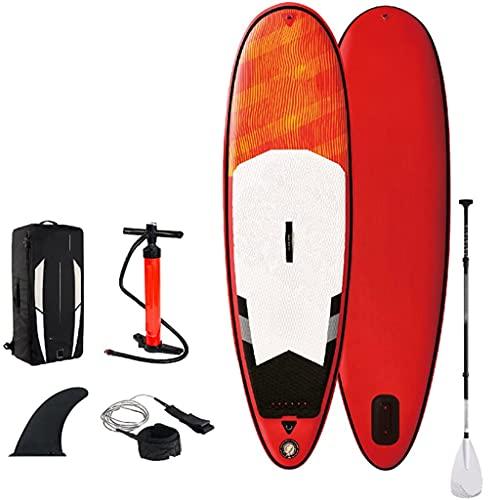 CDPC Tablas de Surf Stand Up Paddleboarding con Paleta de Fibra de Vidrio Ajustable, Accesorios para Tablas de Stand up Paddle Surf inflables ultraligeras, Aletas, Correa de Bobina, Bomba, mochil