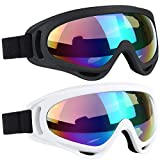 Ski Goggles 2 Packs with Wind Dust UV 400 Protection for Teens Kids Adults