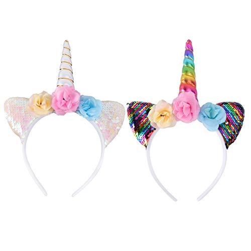 Minkissy 2pcs diademas de unicornio, lindas lentejuelas brillantes orejas de gato diademas de...