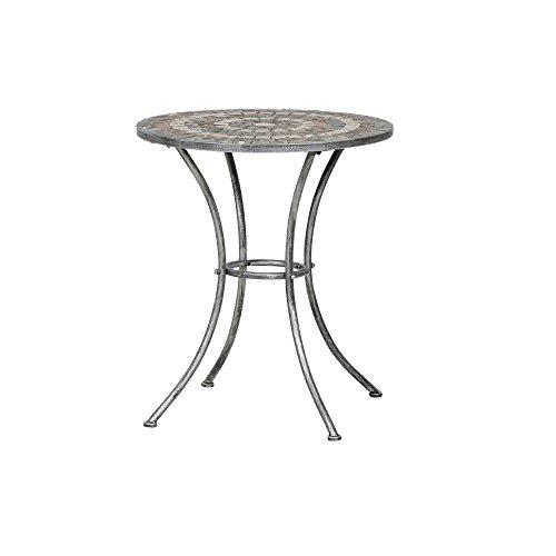 Siena Garden Tisch Felina, Ø60x71cm, Gestell: Stahl, pulverbeschichtet in silber-schwarz, Fläche: Mosaik,Tischplatte: Keramik