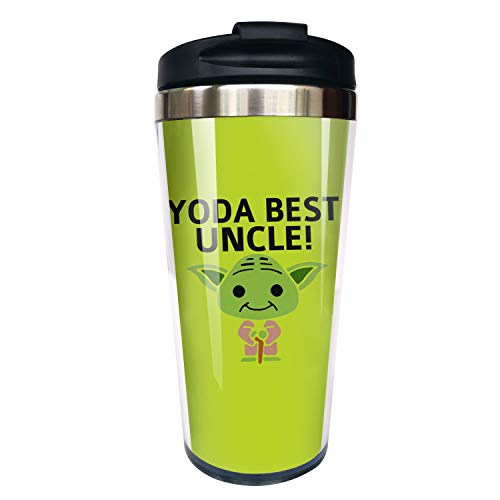 Hasdon-Hill Funny Travel Mugs For Women Men Dad Mom Yo-da Best Uncle Coffee Mug Tea Cup Stainless Steel Mug For Cute Star Fans Friends Birthday Christmas Gifts 12 Oz
