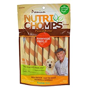 NutriChomps Dog Chews 5-inch Twists, Easy to Digest, Long Lasting, Rawhide-Free Dog Treats, 10 Count, Real Peanut Butter Flavor