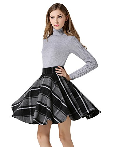 Tanming Women's High Waisted Wool Check Print Plaid Aline Skirt (Small, Gray TM2)