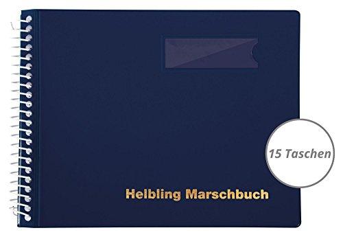 Helbling BMB15 Marschbuch (Notenbuch mit 15 blendfreien Klarsichthüllen, Umschlag aus flexiblem Kunststoff, bruchsichere Spiralbindung, wetterfest, Querformat: 18 x 14 cm) blau