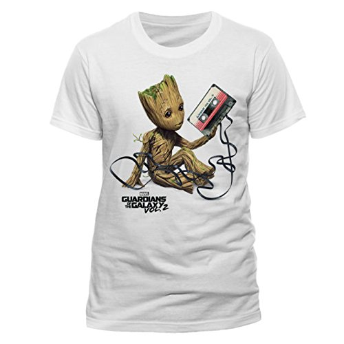 CID Guardians of The Galaxy Vol 2-Groot & Tape Camiseta, Blanco, S para Hombre