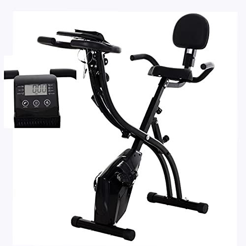 Bicicleta Estática Plegable X Bike con Bandas de Resistencia 8 Niveles Resistencia Magnética Ajustable y Sillín, Pantalla LCD, Carga Máxima 150 kg para la Oficina en casa