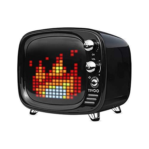 ZTKBG draagbare luidspreker Bluetooth Smart Clock Alarm Pixel Art DIY LED decoratie cadeau Kerstmis, zwart.