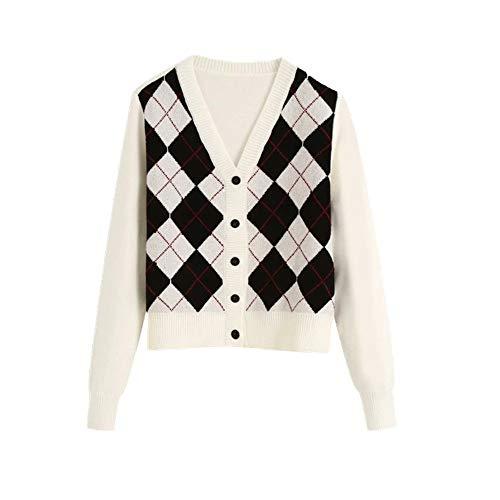 Damen-Strickjacken mit Argyle-Muster in Kontrastfarben, Vintage-Stil, einreihiger Pullover Gr. S, weiß