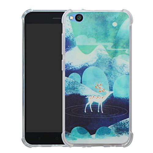 HHDY Xiaomi Redmi Go Funda, Pintura Ultrafina Suave TPU Silicona Diseño de Bumper Cojín de Aire Protección Cover para Xiaomi Redmi Go,Green Sika Deer