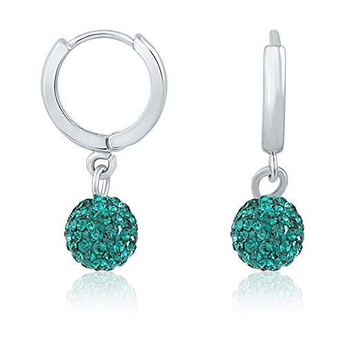 Indiano Decor & Abbigliamento con cristalli Swarovski verde rodiato orecchini a cerchio per le donne ER1104028RGre