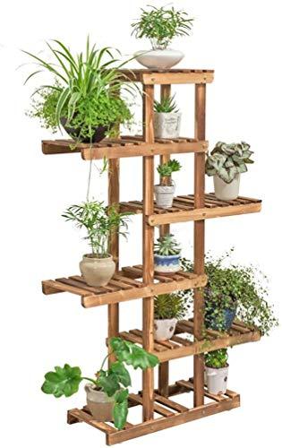ZFB8B Soporte para plantas de salón interior de 6 capas de pino, soporte para el suelo, soporte para macetas y flores, soporte para balcón, jardín y exterior