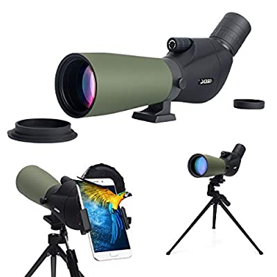 Gosky Spotting Scope with Carrying Bag and Smartphone Adapter - BAK4 Angled Waterproof HD Optics Zoom Scope for Target Shooting Hunting Bird Watching Wildlife Scenery