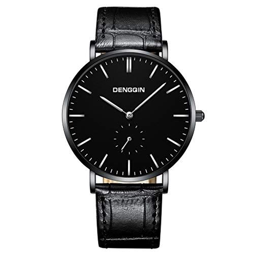 UINGKID Collection Unisex-Armbanduhr Herren Uhren Ultra Dünne Luxuxquarz-Sport-Militär-Edelstahl-Dial-Lederarmband-Armbanduhr