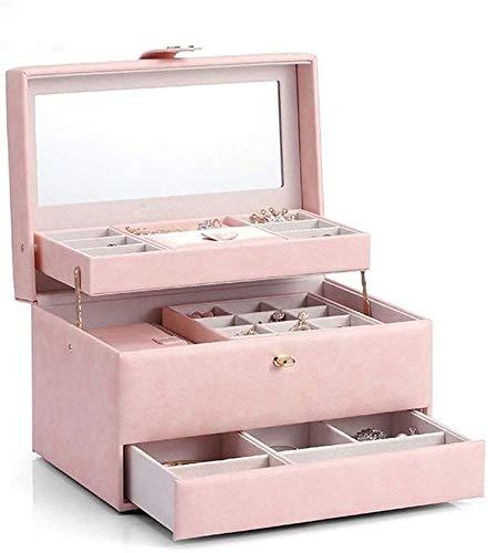 MWXFYWW Joyero de 3 Capas para Mujer, Estuche de exhibición de joyería de Cuero, Bolso de Viaje portátil Rosa para joyería, Bolsa de Almacenamiento de joyería de Gran Capacidad para Regalo