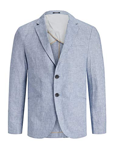 JACK & JONES Herren Blazer Leinenmischfaser 52Light Blue