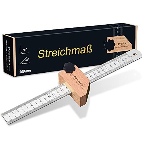 Streichmaß, Preciva Anschlaglineal Anreisswerkzeug Kombinationswinkel zum Markieren von 45° und 90°, 300 mm für Holzbearbeitung, Heimwerken,...