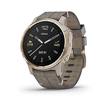 Garmin fenix 6S Pro Sapphire Smartwatch (Light Gold-Tone/Shale Gray Leather)