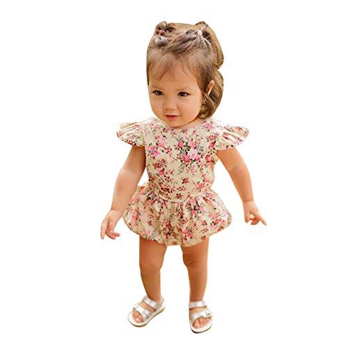 UFODB Neugeborene Mädchen Sommer Kleidung Blume Muster Mode Casual Floral Romper Jumpsuit Outfit Playsuit Babyanzug Babymode Kleidungsset Onesies Spielanzug