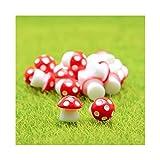 QXX Hongos 10pcs Mini PVC Miniatura Figurines, Hada del jardín Animales, Suministros Hada del jardín, Bonsai Craft Decoración (Rojo)