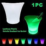 Xpccj 5L LED lumineuse Seau à glace 7couleurs Champagne Vin boissons Bière Ice Cooler pour barres de restaurant les Noctambules KTV Pub fête