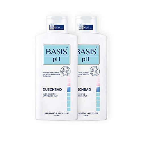 BASIS pH Ensemble de gels de douches, pH neutre, sans savon et sans colorants, Lot de 2 gels de douches unisexe (2 x 400 ml)