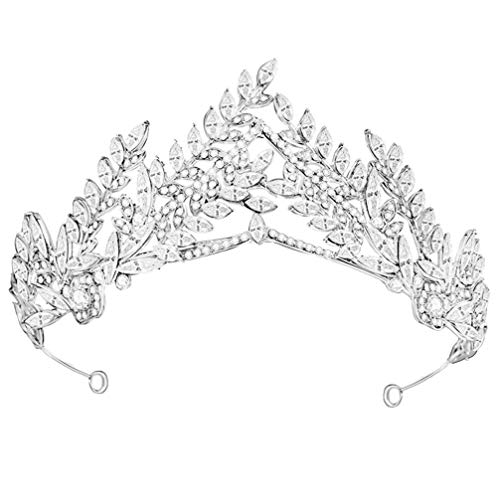 Lurrose Tiara de Boda Corona Diamantes de Imitación de Novia Hoja Corona...