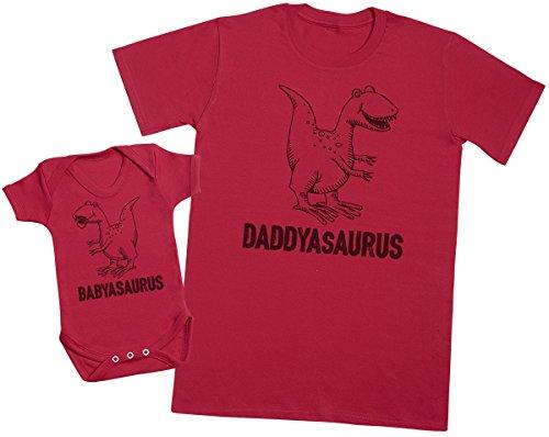 Zarlivia Clothing Daddysaurus & Babysaurus - Passende Vater Baby Geschenkset - Herren T-Shirt & Baby Strampler/Baby Body - XL & 0-3 Monate