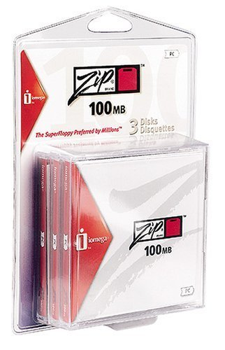 Iomega Zip Disk 100MB 3 Pack Formatted for PC in Clamshell Package (Discontinued by Manufacturer)