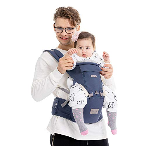"""""""X""""-Cross-Strap-Baby-Carrier, FRUITEAM Baby Carrier, 6-in-1 Hip Seat Baby Carrier, Baby Carrier with Waist Stool, Easy to Put 0n, Comfortable and Safe (Eveningmist Blue)"""