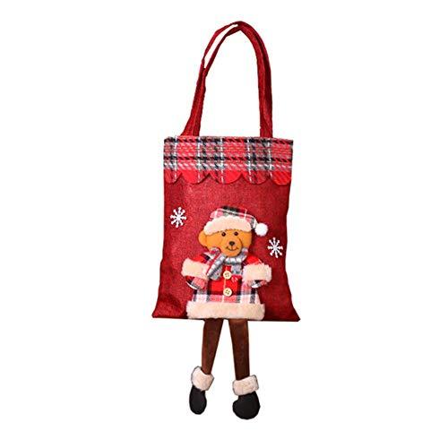 Makluce geschenktassen, kerstzak, stoffen zak, cadeauzakjes, leeftijd manen, pop, kerstzak, voor snoepgoed geschenken decoraties, herbruikbare katoenen zakjes, cadeauzakjes D Kleur van de afbeelding: