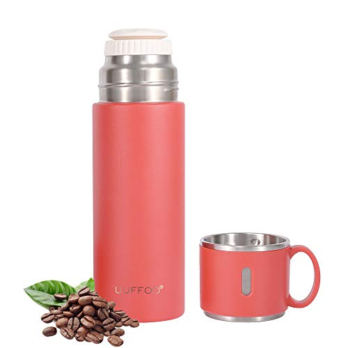 Thermoss cup Stainless Steel Vacuum Flask, Double Wall Insulated Water Bottle, Car Portable Travel Coffee Cup with Leakproof Build-in Lid Cup for Men and Women Can Be Used As a Gift.(Red)