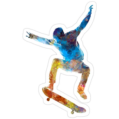 Stickers Man Skateboard 01 in Watercolor (3 Pcs/Pack) 3x4 Inch Wall Decals