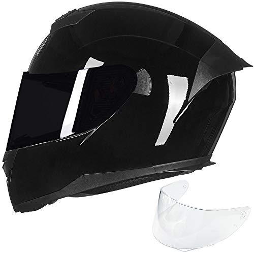 ILM Full Face Motorcycle Helmet for Motocross Street Bike DOT Certified (Gloss Black, M)