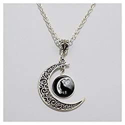 Charm Moon Glass Tile Necklace Wolf Necklace Moon Necklace Glass Tile Jewelry Animal Jewelry Moon Jewelry Wolf Jewe (3)