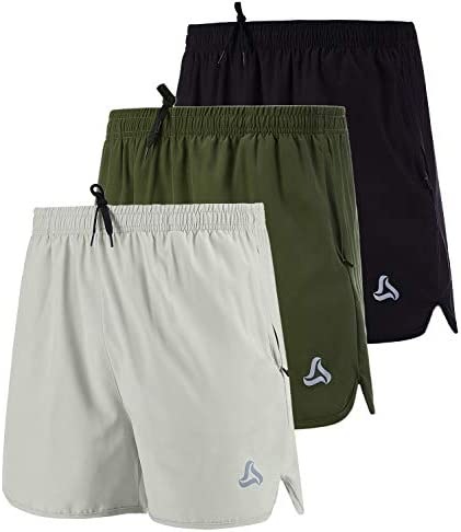 SILKWORLD Men s Running Stretch Quick Dry Shorts with Zipper Pockets Pack of 3 Black Army Green product image