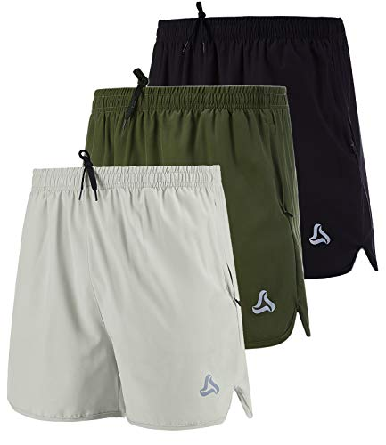 SILKWORLD Men's Running Stretch Quick Dry Shorts with Zipper Pockets(Pack of 3), Black, Army Green, Light Grey, Large