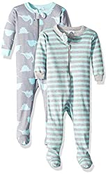 2. Gerber Baby Boys Dinosaur Organic 2-Pack Cotton Footed Unionsuit