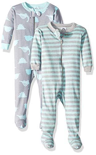 Gerber Baby Boys Organic 2 Pack Cotton Footed Unionsuit, 3 months, DINO
