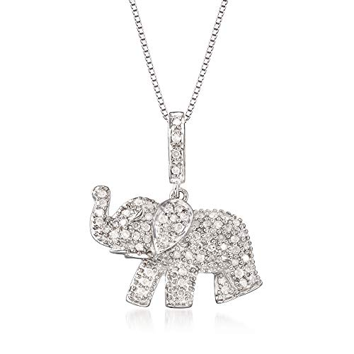 Ross-Simons 0.33 ct. t.w. Pave Diamond Baby Elephant Pendant Necklace in Sterling Silver. 18 inches