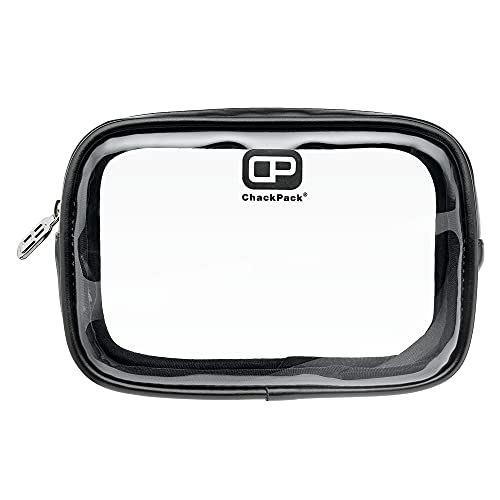 ChackPack Tasche Leder Edition, durchsichtige Premium Kulturtasche für Handgepäck/Flüssigkeiten/Flugzeug, 1L, Premium Kulturbeutel transparent, Kosmetiktasche durchsichtig