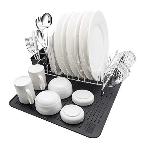 SHAN ZU Geschirrständer Abtropfgestell Geschirrkorb Edelstahl mit Besteckkorb und Abtropfschale für Küche Teller Besteck mit Utensilienhalter und Silikon Trockenmatten für Küchenarbeitsplatte Spüle