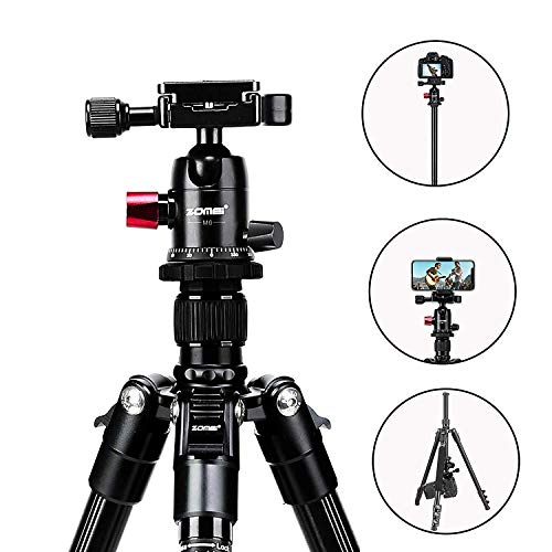 M6 Tripod,64'' Aluminum Tripod for Landscape Photography with 360 Degree Flexible Ball Head,Camera Tripod for Canon Nikon Sony DSLR,Detachable Monopod,Compatible with iPhone & Android Phone