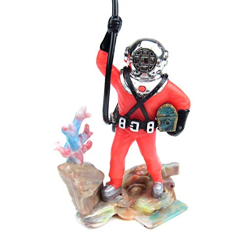 Alfie Pet - Rian Aquarium Floating Diver Ornament - Color: Red